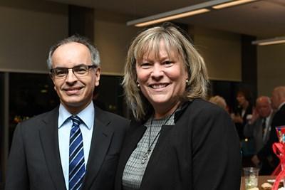 Philanthropist Luis Pedroso with UMass Lowell Education Prof. Eleanor Abrams