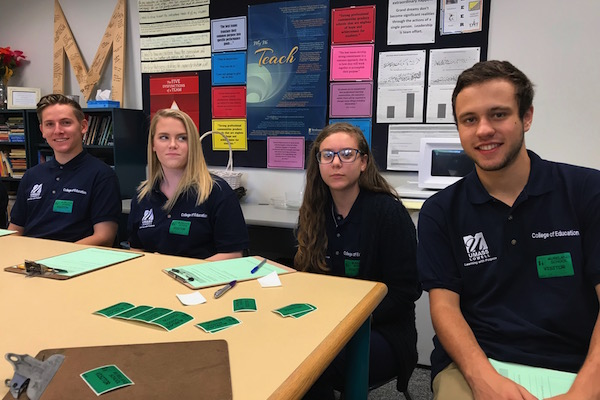 B.A. Education first-year students Nicholas Kerrigan, Aubreigh Waterhouse, Dina Gill and Sam Gilbert are gaining experience developing lesson plans and teaching kids at the Murkland Elementary School in Lowell.