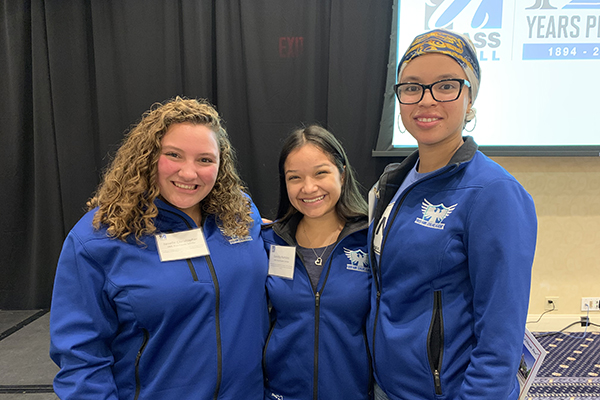 First-generation college students Danelia Ramirez (criminal justice and sociology), Janelle Christopher (education) and Emily Crespo (education) spoke about their experiences at a panel on social and emotional learning in education.
