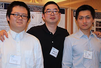 From left, undergraduate student Yang Zhang, doctoral candidates Xiaotian Zou and Ye Tian present their work on protecting soldiers' heads during the 16th annual Student Research and Community Engagement Symposium.