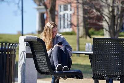 Medical lab sciences major Erin Snow took a walk on a nearly deserted UMass Lowell South Campus