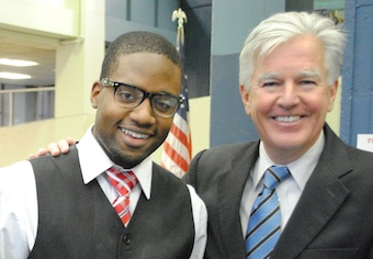 Nursing freshman Erneston Maurissaint and Chancellor Marty Meehan.