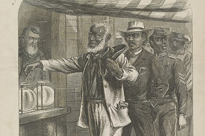 """""""The First Vote,"""" an engraving featured on the cover of Harper's Weekly, Nov. 16, 1867"""