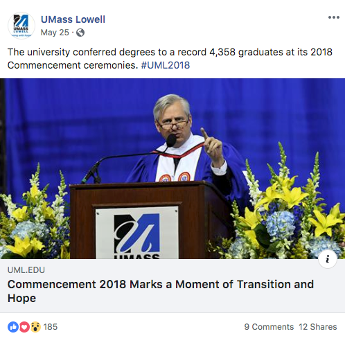 Screenshot of a Facebook post on UMass Lowell's timeline