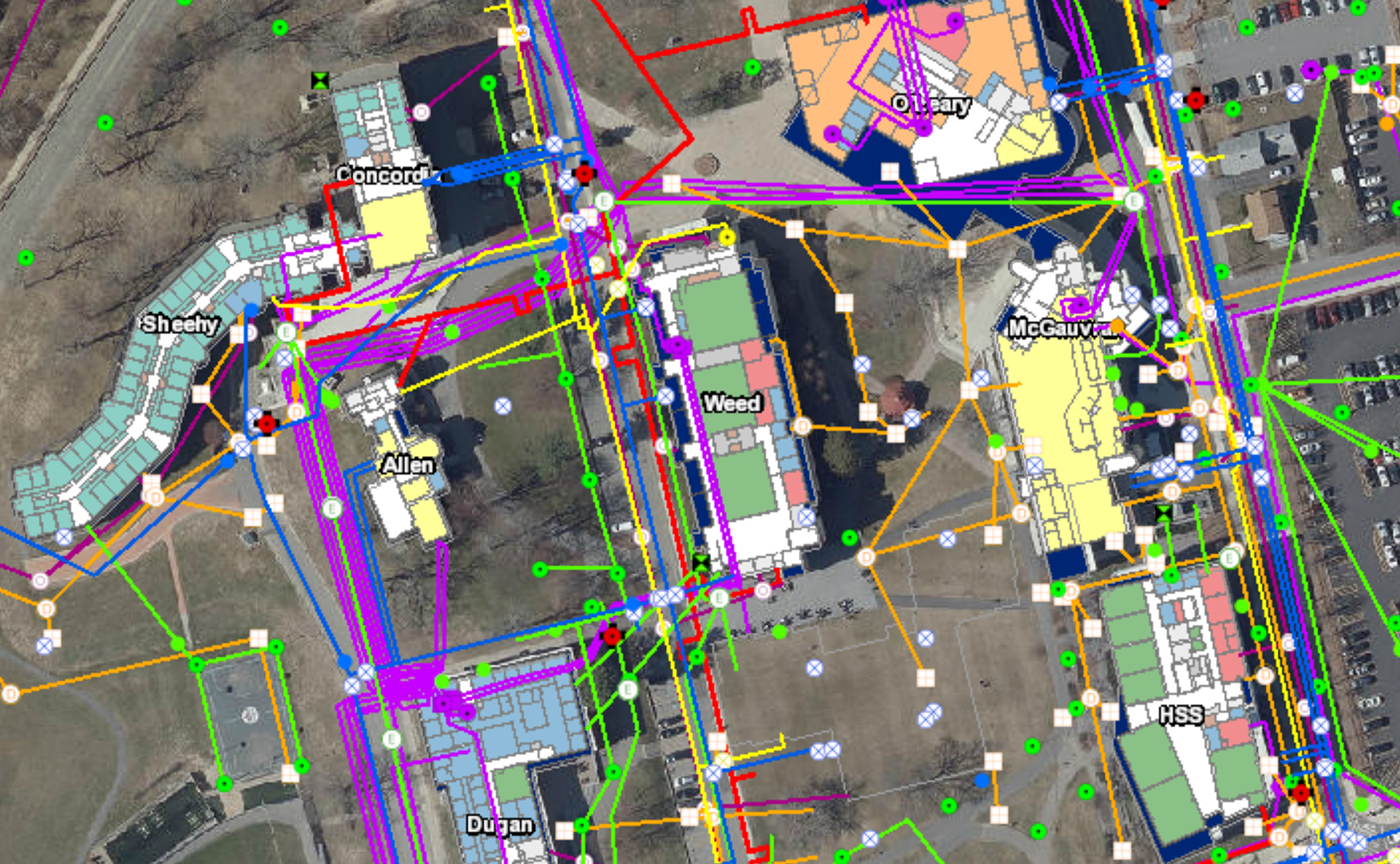 Example of the FIS system: Map of South Campus showing utilities connections between buildings