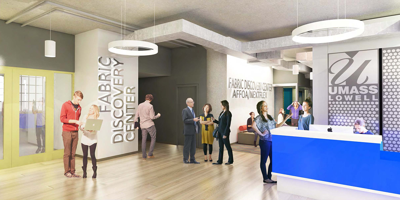 Artist's rendering of Fabric Discovery Center at UMass Lowell