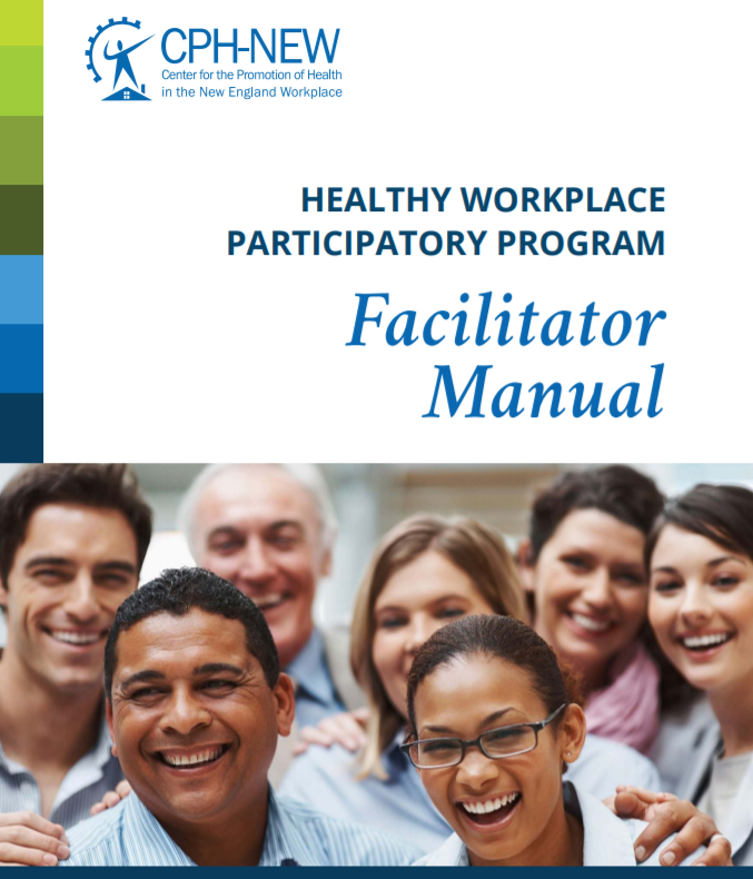 Healthy Workplace Facilitator Manual cover with photo of smiling workers at bottom