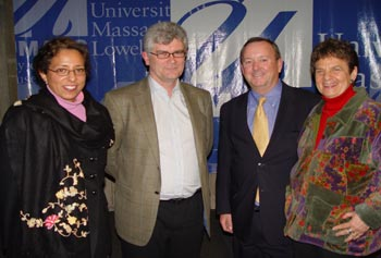 Linda Bishai, from the U.S. Institute of Peace, left, and Tony Gallagher, from Queen's University in Belfast, spoke at a forum hosted by Prof. Francis Talty of the Center for Irish Partnerships and Prof. Paula Rayman of the Peace and Conflict Studies Program, right.