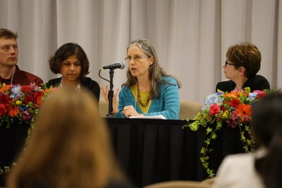 Susan Thomson Tripathy speaks during a panel discussion