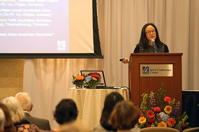 English Prof. Sue Kim delivers a keynote talk at the symposium