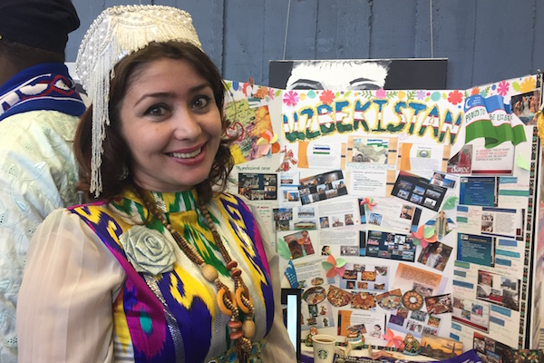 Feruza Erkulova from Uzbekistan presented information about her country at a poster session on campus.
