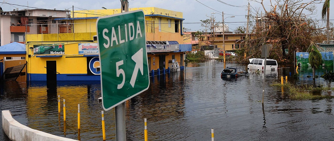 Flooded area in Carolina, Puerto Rico, after the path of Hurricane Maria in the island. Photo by Sgt. Jose Ahiram Diaz-Ramos