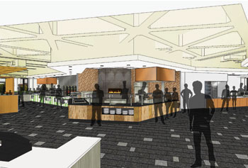 The dining facility in Fox Hall is undergoing a complete renovation and will open in September as University Dining Commons with seven cooking stations, a brick pizza oven and an after-hours space with fireplace, among other features.
