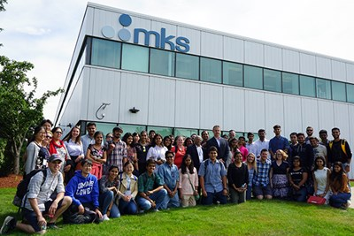 Global Entrepreneurship students pose for a group photo outside MKS