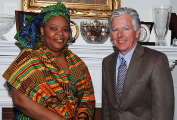 Chancellor Marty Meehan with Nobel Peace Prize winner Leymah Gbowee during her visit to campus in spring of 2011.