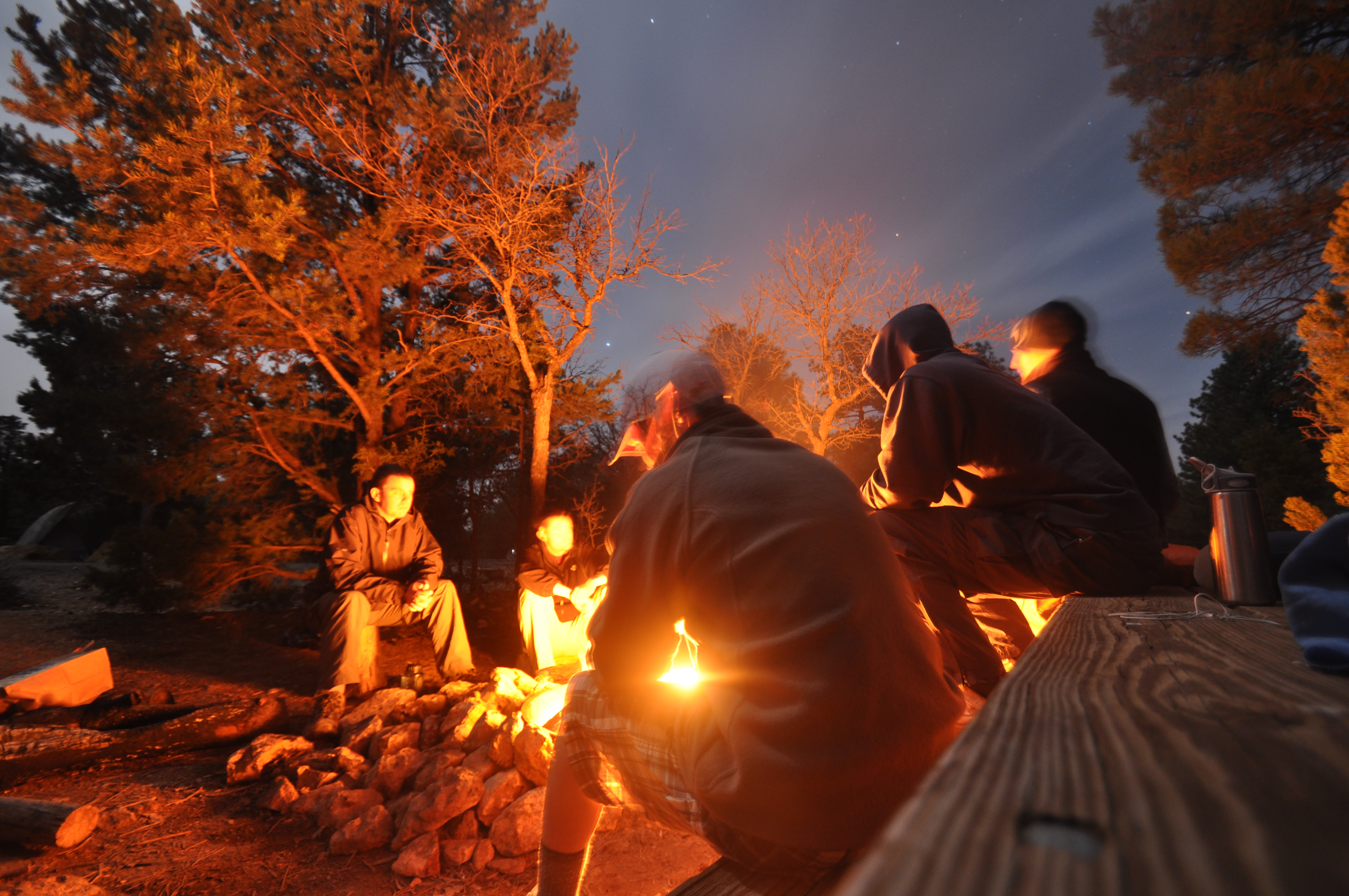 Students By Campfire