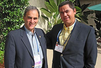 Prof. Gilbert Brown, left, with former student Leonel Nava during the 2010 annual meeting of the American Nuclear Society in San Diego.