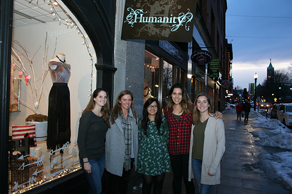 Humanity Boutique owner Ani Vong, center, is getting marketing help from students, from left, Kelly Mankowich, Christa Doiron, Elima Ahzi and Katie Luchino. Not pictured is Colleen Frank.