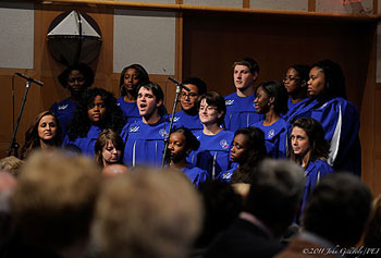 The UMass Lowell Gospel Choir recently performed at the inauguration of UMass President Robert Caret.