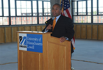 Gov. Deval Patrick announced $1 million funding for the new UMass Lowell Innovation Hub, which will provide space for up to 40 entrepreneurs at a renovated mill in the city's emergent Hamilton Canal District.