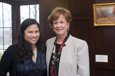 Noy Thrupkaew with Chancellor Jacquie Moloney