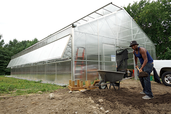 Junior environmental science major Jose Tapia helps move compost at the new Urban Agriculture Greenhouse. Tapia volunteered along with fellow members of the UML men's rowing team.