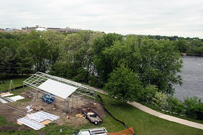 The greenhouse is constructed along the riverwalk