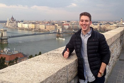 Student Greg Ensom give thumbs up in Czech Republic