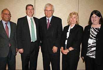 From left, Provost Ahmed Abdelal, Massachusetts Secretary of Housing and Economic Development Gregory Bialecki, UMass Vice President for Economic Development Thomas Chmura, Prof. Joey Mead and Prof. Carol Barry at this year's Destination Nano conference.