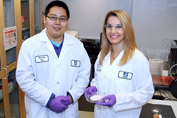 Chemical Engineering Asst. Prof. Gulden Camci-Unal, right, and Biomedical Engineering and Biotechnology Ph.D. student Xinchen Wu conduct bone tissue engineering research at the Saab Emerging Technologies and Innovation Center on North Campus.