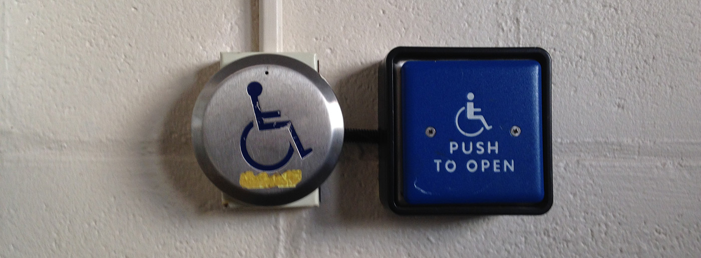 Automatic Door sign handicap button- Cumnock Hall.