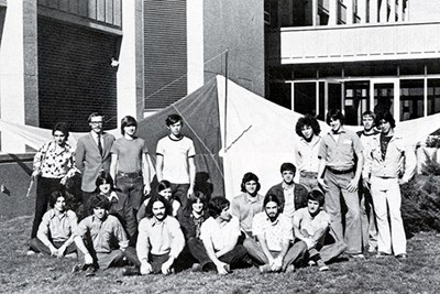 The Hang Gliding Club poses outside of Olney Science Center
