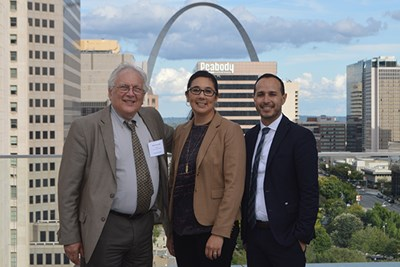UML Asst. Prof. of Nursing Mazen El Ghaziri, right, SLU Assoc. Prof. Lisa Jaegers, center, and UConn Health Prof. Martin Cherniack in St. Louis in 2017