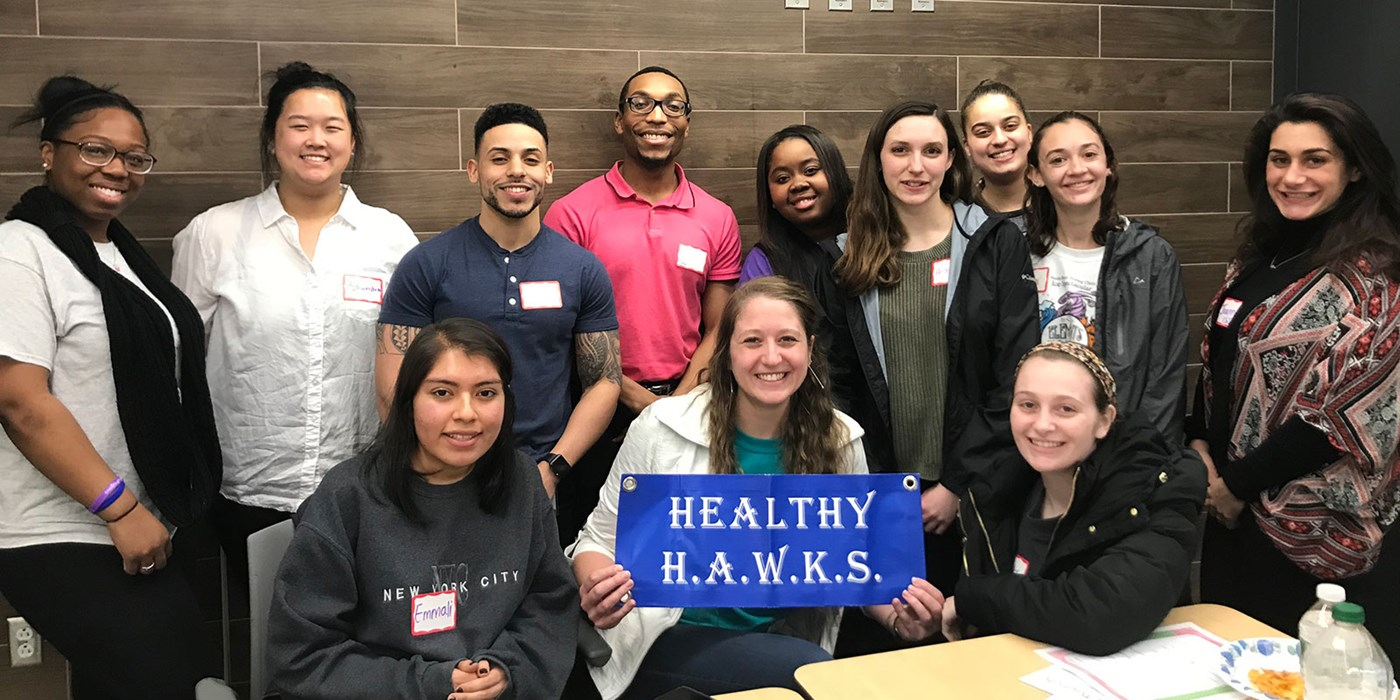 The Healthy HAWKS is a peer health education volunteer student group that provides students an easily accessible and relatable health resource. As an extension of the Wellness Center, our goal is to be involved in the growth of UMass Lowell as a university that is proud of a healthy student environment.