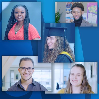 Montage of five graduating students