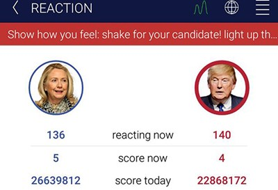 Screenshot of HillaryDonald app