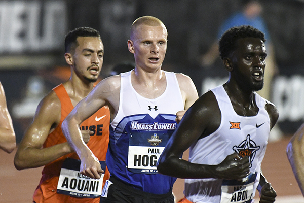 All-American Paul Hogan runs to an 11th place finish in the 10,000 meters at the NCAA Track and Field Championships in Austin, Texas.