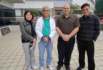 Stephen Saravara, a lecturer in the Department of Criminal Justice and Criminology, third from left, with City University of Hong Kong faculty members Asst. Prof. Lena Yueying Zhong, Asst. Prof. T. Wing Lo and Asst. Prof. Yao-chung Chang.