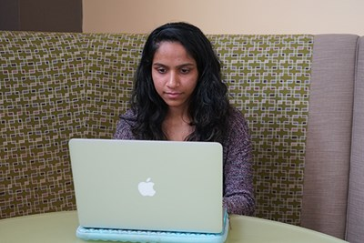 Dhruvi Patel, a pre-med biology major, transferred to UMass Lowell her senior year after Mount Ida College closed.