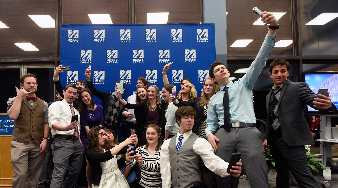 "The Honors Ambassador Council poses for a ""silly selfie group photo"" at the 20th anniversary celebration."