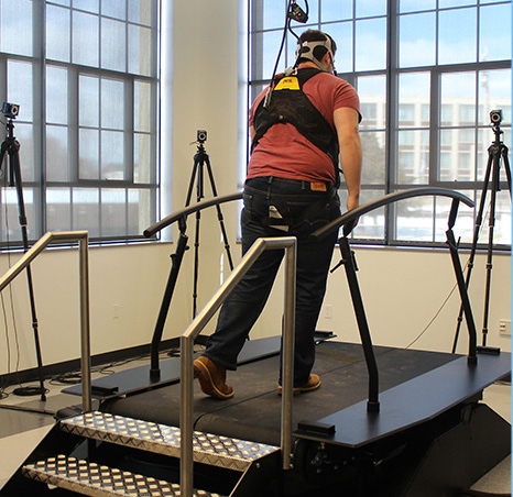 Human walking on equipment at NERVE Center