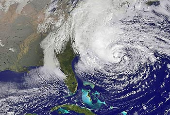This view of the 900-mile-wide hurricane Sandy spinning off the coast of North Carolina was taken by the NOAA GOES-13 satellite on Oct. 28.