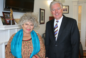 "Miriam Margolyes toured campus with Chancellor Meehan while visiting for ""Dickens in Lowell."""