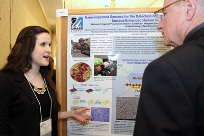 Student presenting her poster at the symposium