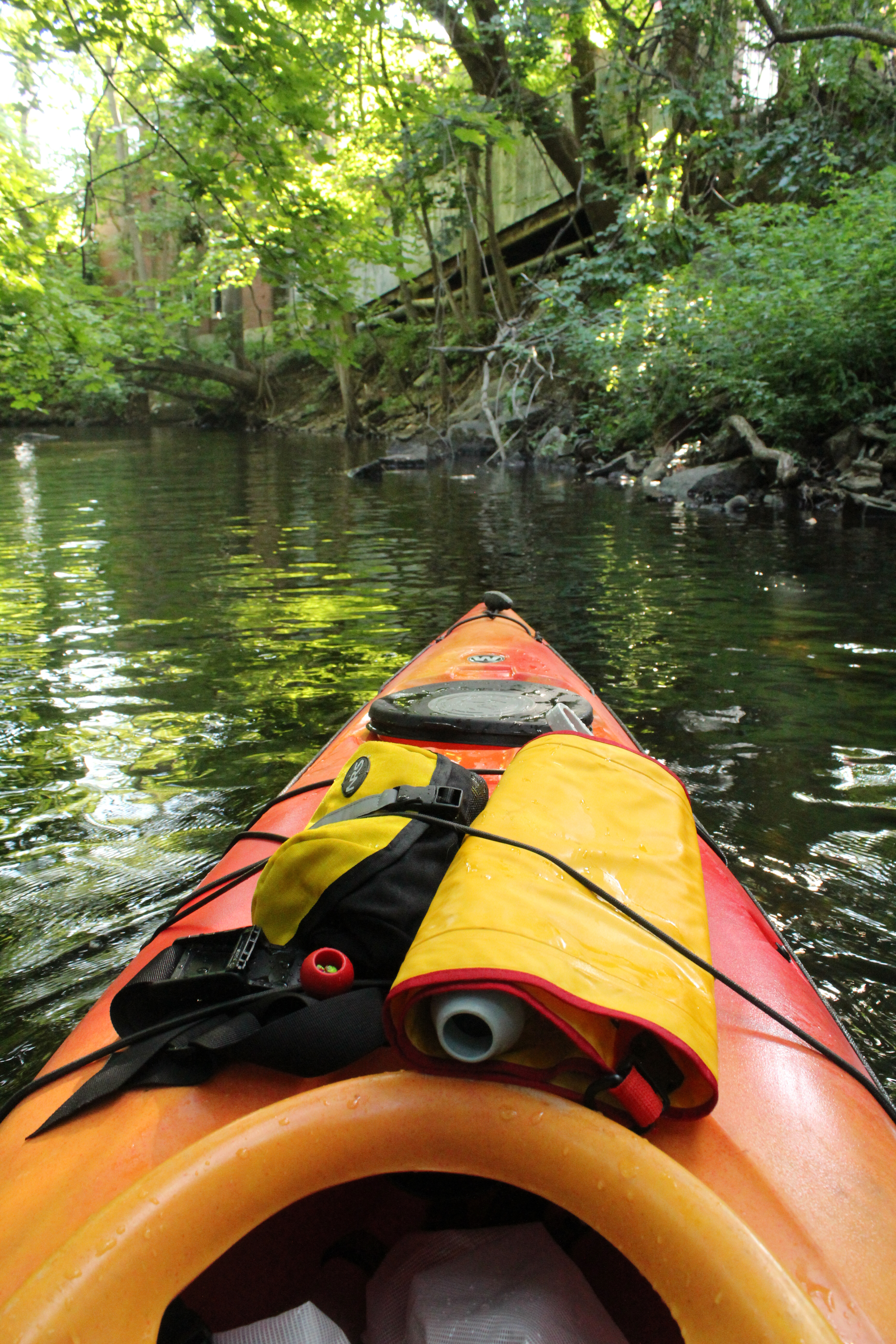 View from inside kayak while paddling up the river.