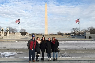 Five UML students visited the World War II memorial in Washington D.C.