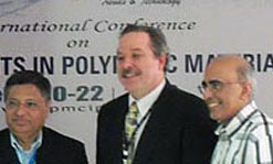 Stephen McCarthy with Dr. S. K. Nayak, left, of CIPET and Prof. Ramani Narayan of Michigan State University.