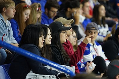students watch the UML hockey game