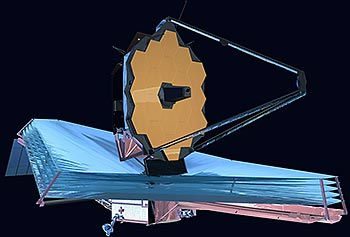 This NASA illustration shows what the James Webb Space Telescope will look like once it's deployed in orbit.