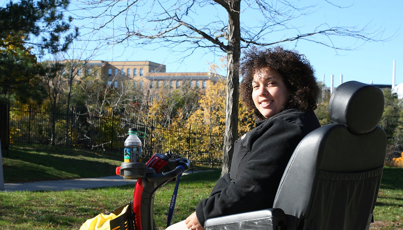 photo of UMass Lowell accounting student Jeanine Buonopane on East Campus